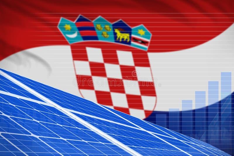 Begrepp för graf för makt för sol- energi för Kroatien digitalt - miljö- industriell illustration för naturlig energi illustratio royaltyfri illustrationer