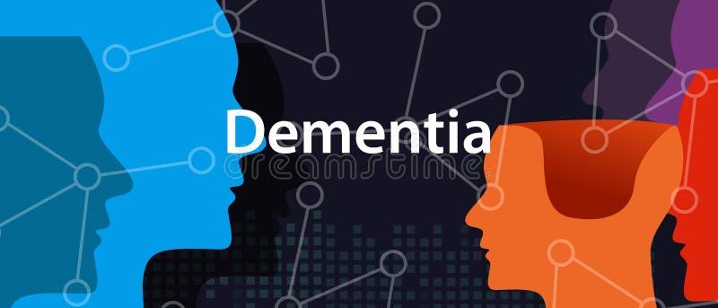 Begrepp för hälsoproblem för neurologi för demensalzheimer hjärna head tänkande vektor illustrationer
