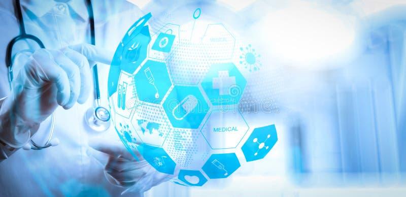 Begrepp för hälsovård och för medicinsk service med världen eller global fo royaltyfri illustrationer