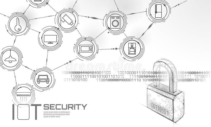 Begrepp för hänglås för IOT-cybersäkerhet Den personliga datasäkerhetsinternet av saker ilar hem- cyberattack mekaniskt tangentbo vektor illustrationer