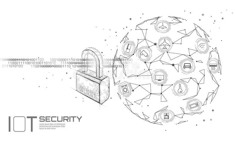 Begrepp för hänglås för IOT-cybersäkerhet Den personliga datasäkerhetsinternet av saker ilar hem- cyberattack mekaniskt tangentbo royaltyfri illustrationer