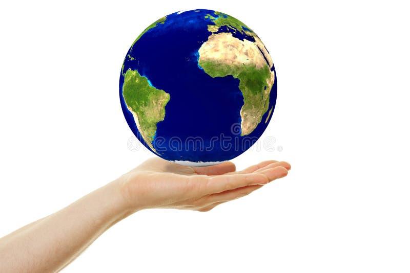 Begrepp för hållbarhet med hoovering jord royaltyfria bilder