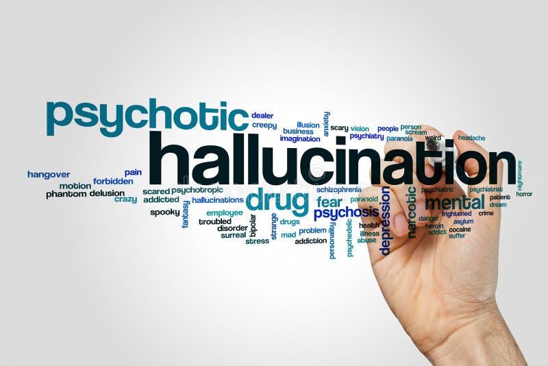 Begrepp för hallucinationordmoln arkivbilder