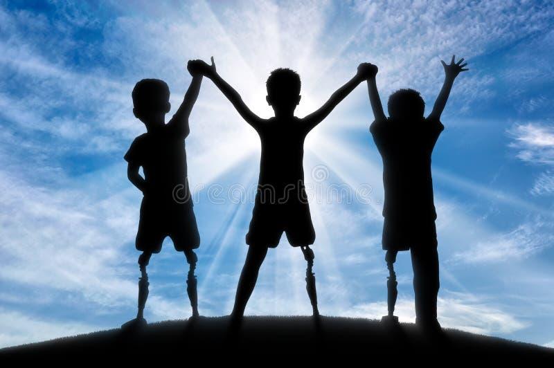 Begrepp för handikapp för barn` s arkivfoton