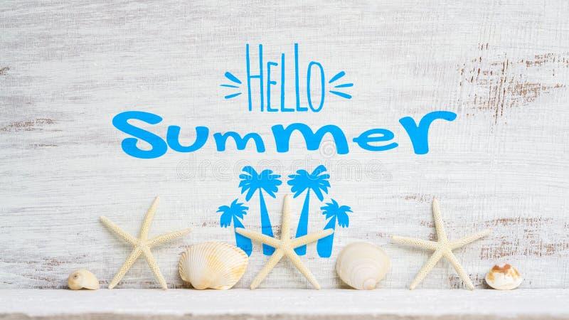 Begrepp för Hello sommarbakgrund för semester för ferie för sommartid Abstrakt bakgrund för begrepp för semester för havsstrandlo arkivbilder