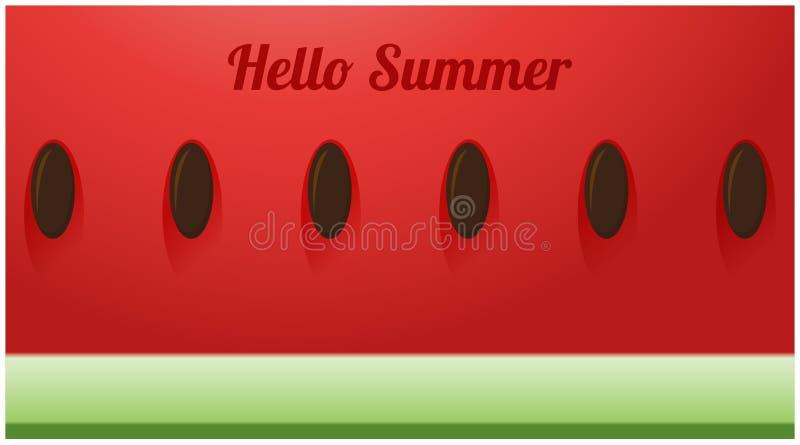 Begrepp för Hello sommarsäsong med skivan av vattenmelonbakgrund royaltyfri illustrationer
