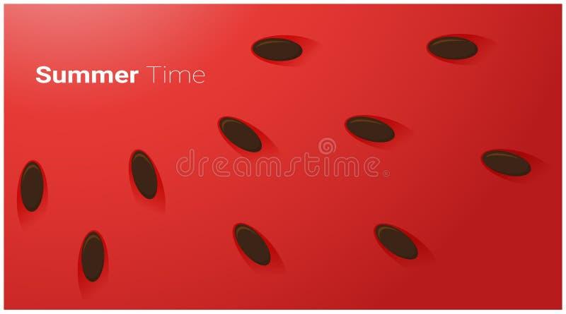 Begrepp för Hello sommarsäsong med skivan av vattenmelonbakgrund vektor illustrationer
