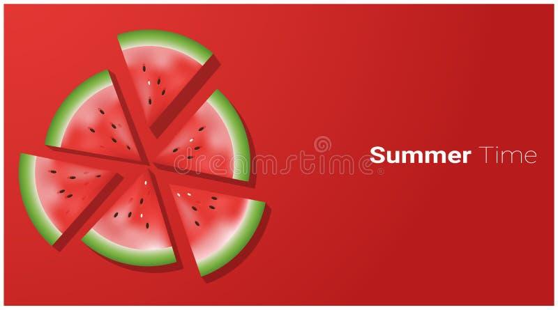 Begrepp för Hello sommarsäsong med vattenmelonskivor på röd bakgrund vektor illustrationer