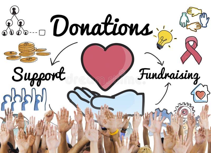 Begrepp för hjälp för donationaktieservice Fundraising arkivbilder