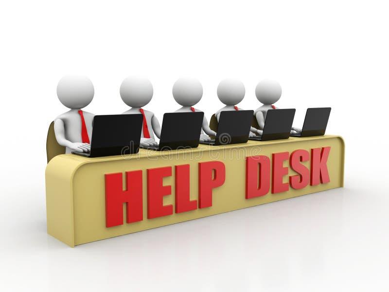 Begrepp för hjälpskrivbord, litet mänskligt tecken 3D i en appellmitt 3d framför stock illustrationer