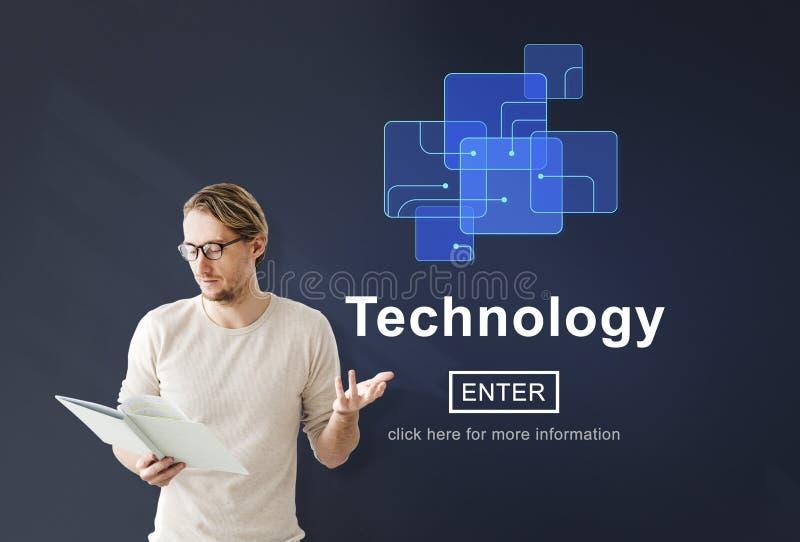 Begrepp för Homepage för teknologiinnovationDigital evolution royaltyfri foto