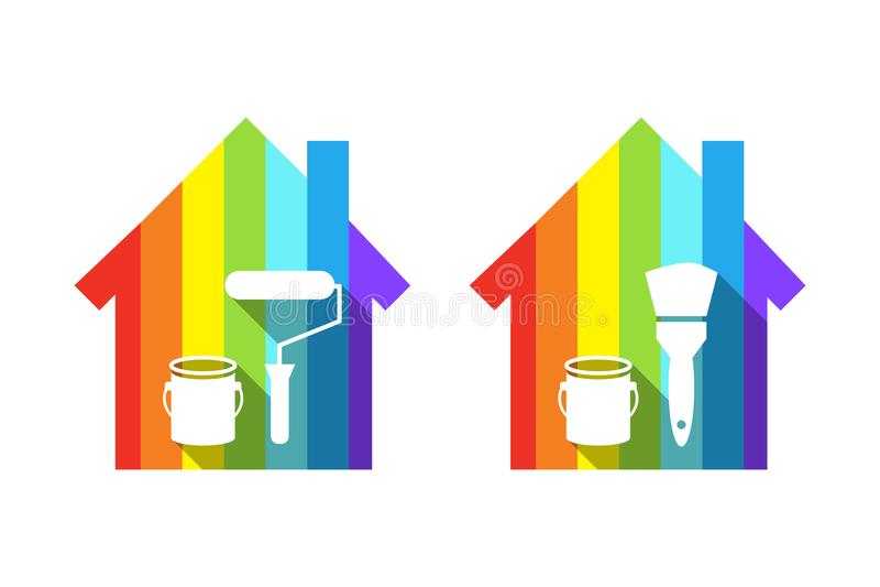 Begrepp för husmålning med huset som göras av färgspektret royaltyfri illustrationer