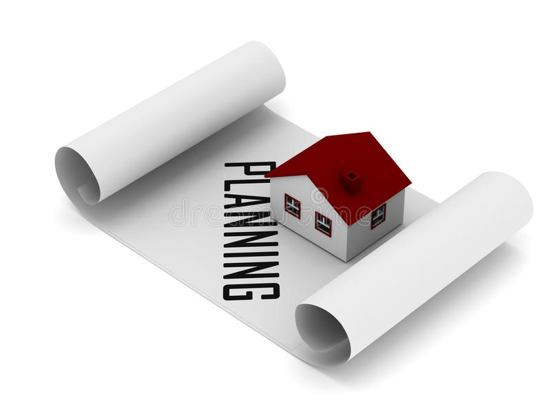 Begrepp för husplanläggning stock illustrationer