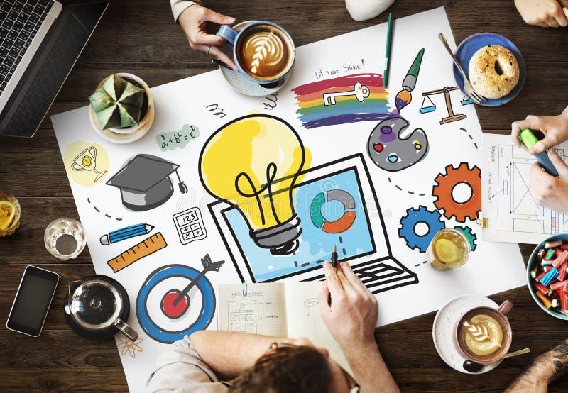 Begrepp för idéer för idé för data för inspirationambitionkällor arkivbild