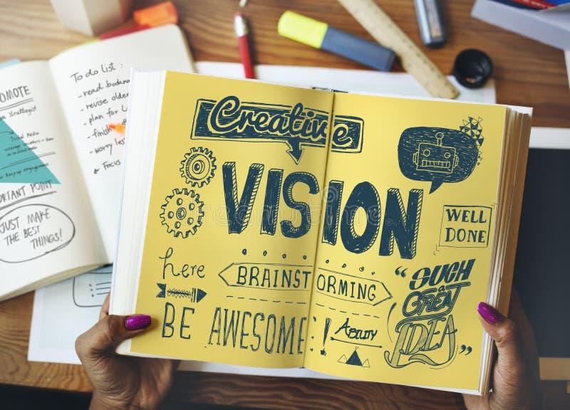 Begrepp för idékläckning för visionära mål för vision framtida fotografering för bildbyråer