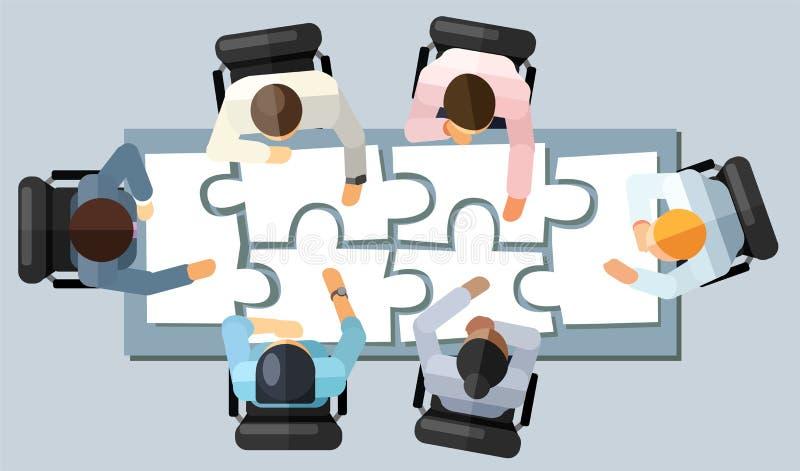 Begrepp för idékläckning för strategi för affärsmöte Vektorillustration i en flyg- sikt med folk som sitter i ett kontor runt om  vektor illustrationer