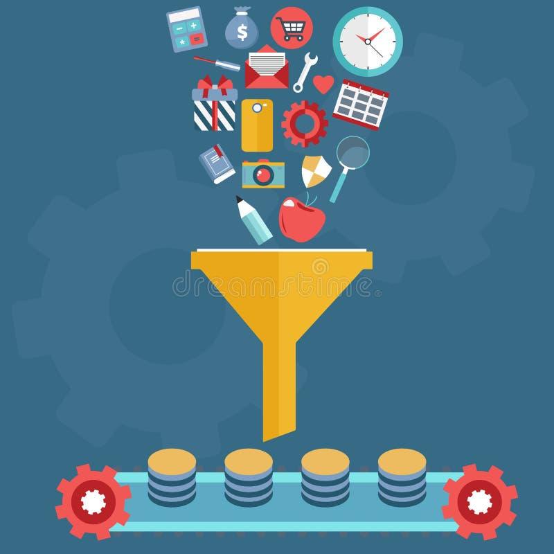 Begrepp för idérik process, stora data filtrerar, gräver data och analys Plan vektor royaltyfri illustrationer