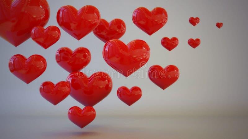 Begrepp för illustration 3D för röd hjärta themed royaltyfri bild