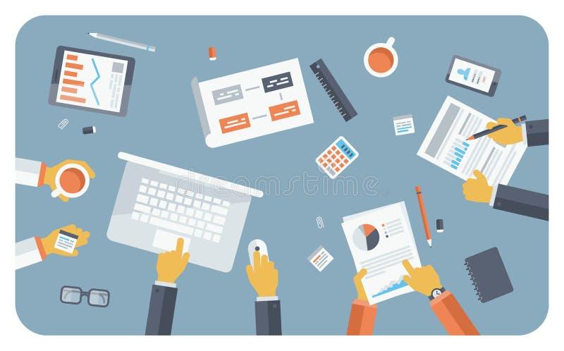 Begrepp för illustration för lägenhet för affärsmöte stock illustrationer