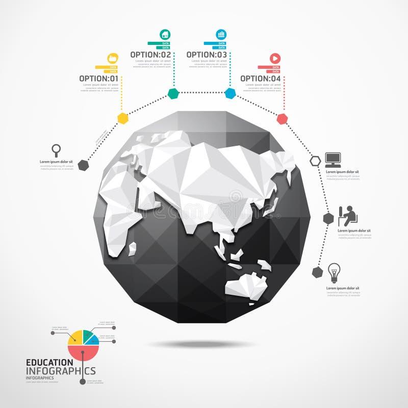 Begrepp för infographics för jordklotvärldskartaillustration geometriskt. royaltyfri illustrationer