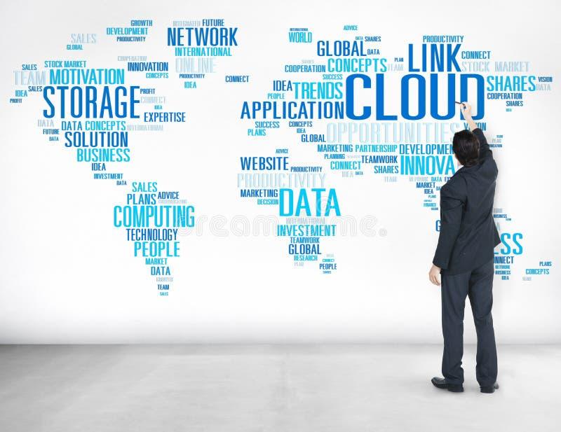 Begrepp för information om data för teknologi för sammanlänkningsmolnberäkning royaltyfri bild