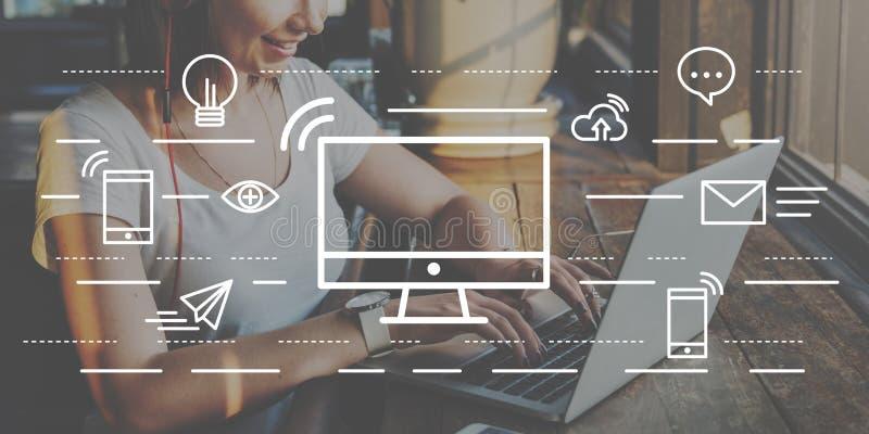 Begrepp för information om teknologi för datorkommunikationsanslutning arkivfoto