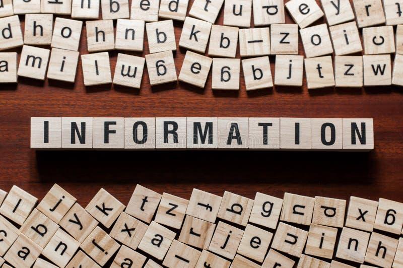 Begrepp för informationsord på kuber royaltyfri foto