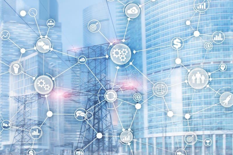Begrepp för innovation för automation för diagram för workflow för struktur för affärsprocess industriellt på suddigt kontor royaltyfri illustrationer