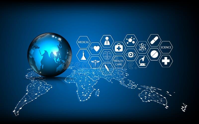 Begrepp för innovation för abstrakt teknologi för bakgrund för vektor global medicinskt stock illustrationer