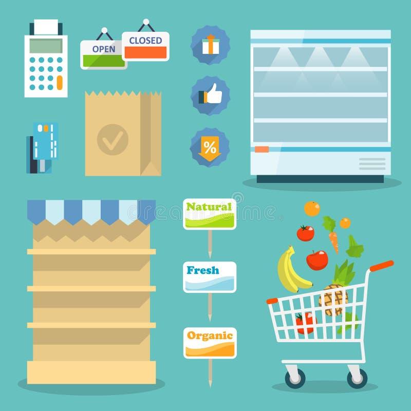Begrepp för internet för supermarketmatshopping stock illustrationer