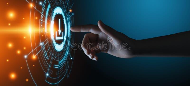 Begrepp för internet för nätverk för teknologi för affär för nedladdningdatalagring royaltyfri fotografi