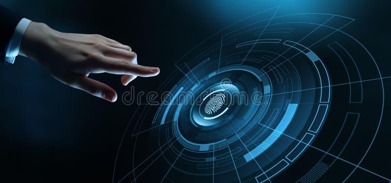 Begrepp för internet för säkerhet för teknologi för fingeravtryckbildläsningsaffär arkivbild