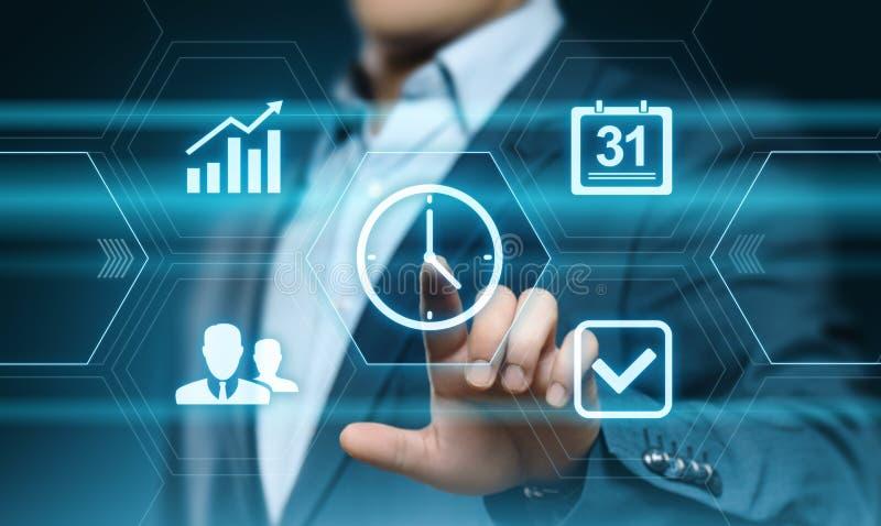 Begrepp för internet för teknologi för affär för mål för strategi för effektivitet för projekt för Tid ledning royaltyfri fotografi