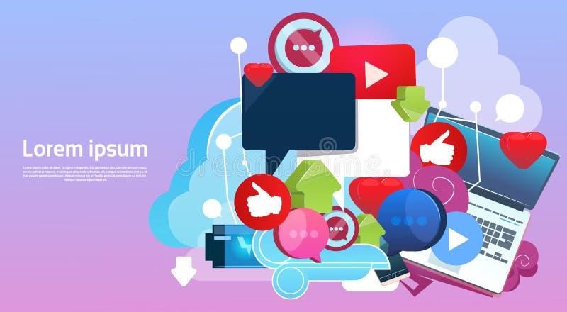 Begrepp för internetonline-Blogging socialt nätverkskommunikation stock illustrationer