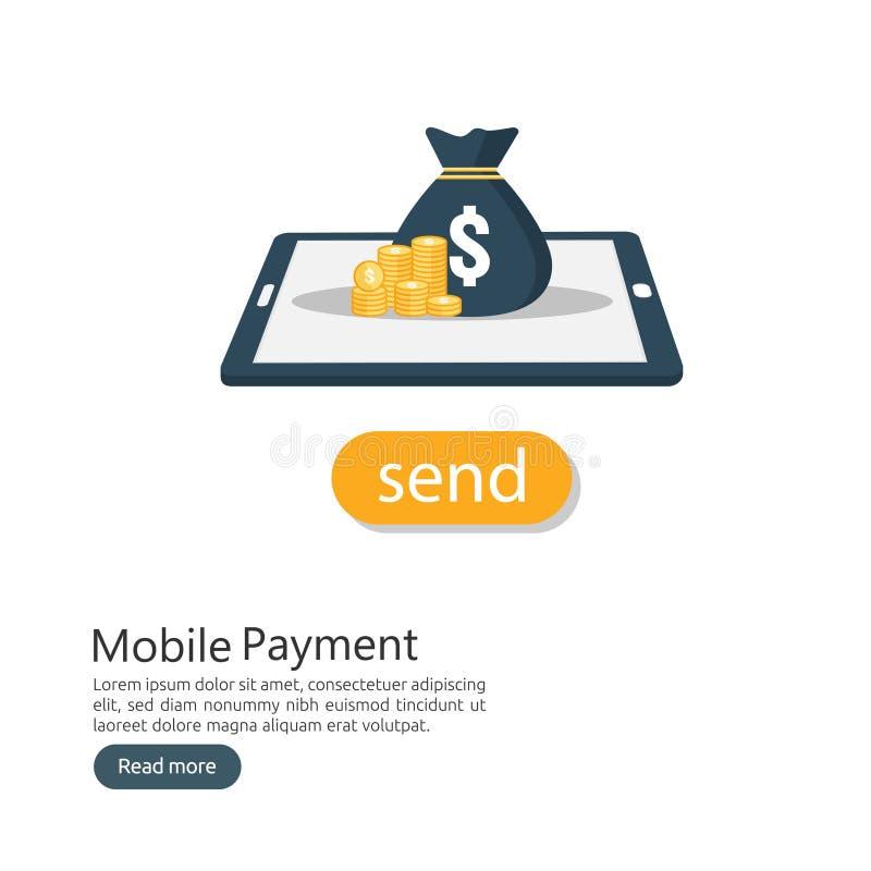 begrepp för internetonline-mobilt betalningservice inhandla för affärspengar shoppingtransaktionsmetod elektronisk digital fond t vektor illustrationer