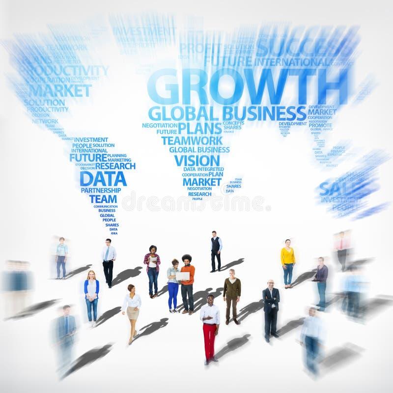 Begrepp för investering för tillväxt för framgång för global affär olikt etniskt royaltyfri foto