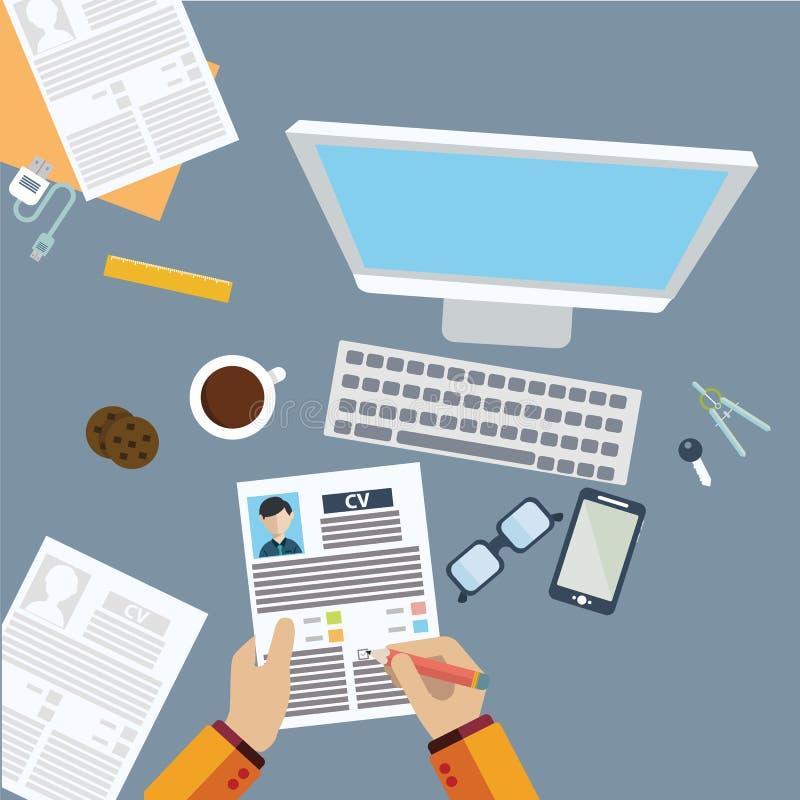 Begrepp för jobbintervju med affärsCV-meritförteckningen royaltyfri illustrationer