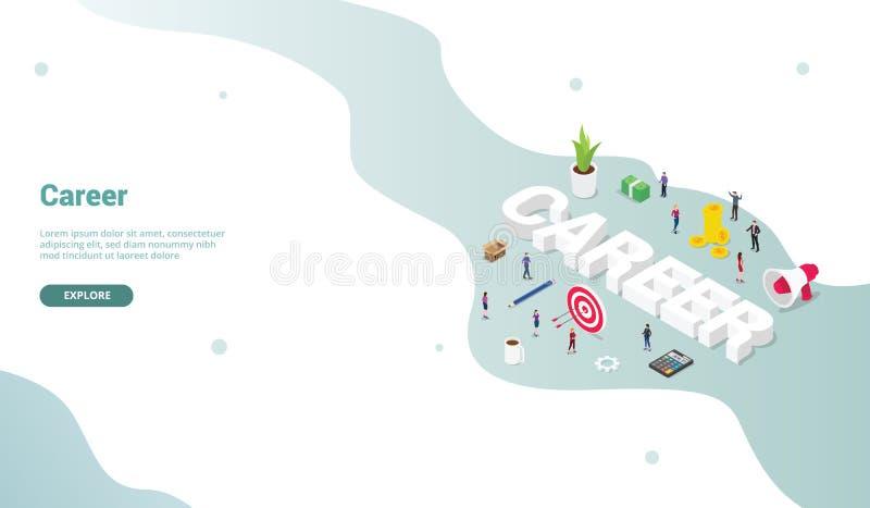 Begrepp för karriäraffärsarbete med isometrisk modern plan stil för att landa homepage-designwebsiten - vektor stock illustrationer