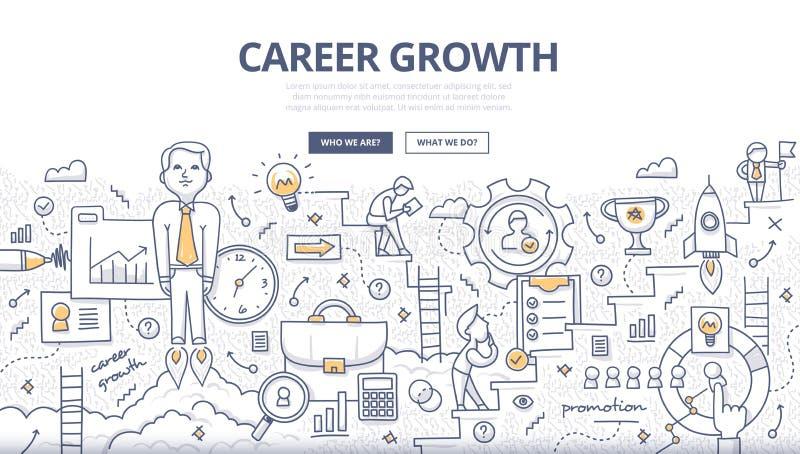 Begrepp för karriärtillväxtklotter stock illustrationer