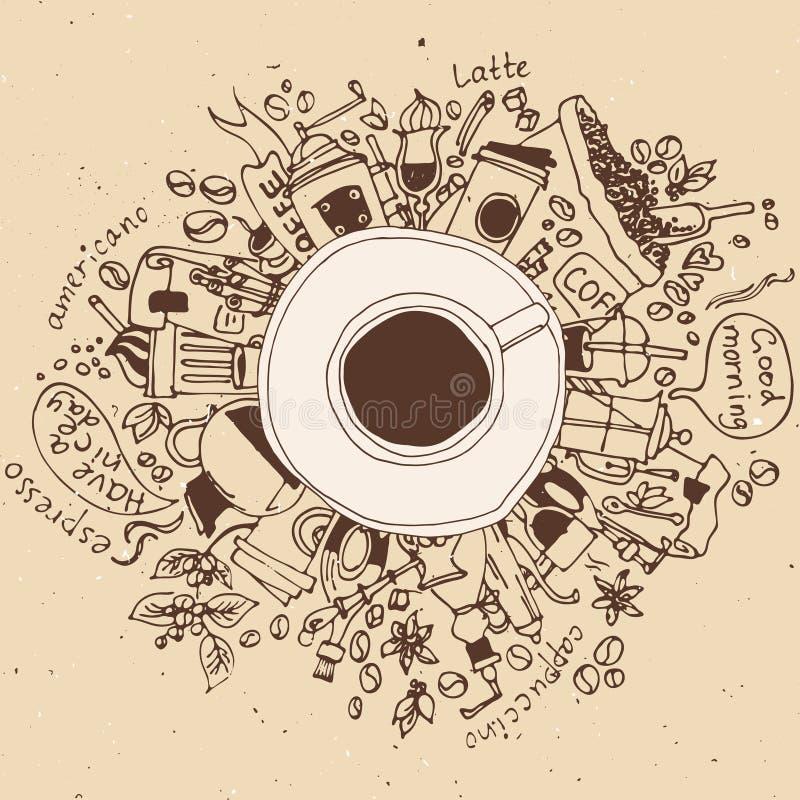 Begrepp för klotter för morgonkaffeavbrott stock illustrationer