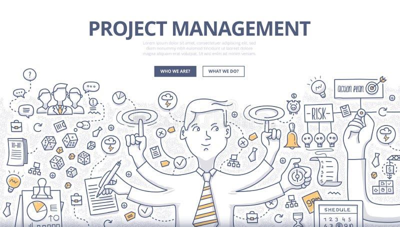 Begrepp för klotter för projektledning royaltyfri illustrationer