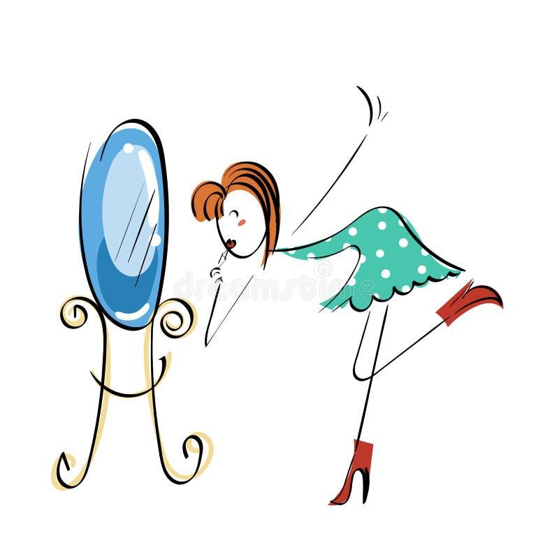 Begrepp för klotterstickmanillustration Near spegel för makeup stock illustrationer