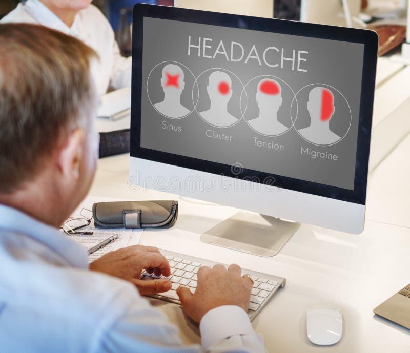Begrepp för klunga för spänning för huvudvärksymptommigrän arkivbild