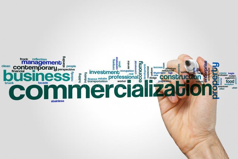 Begrepp för kommersialiseringordmoln på grå bakgrund vektor illustrationer