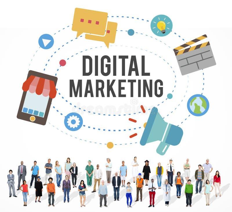Begrepp för kommunikation för affärsidéDigital marknadsföring royaltyfria bilder