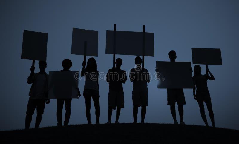 Begrepp för kommunikation för folk för folkmassa för protestgruppenhet arkivbild