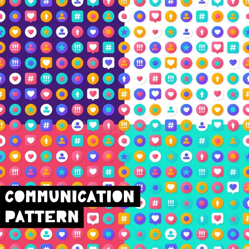 Begrepp för kommunikation för massmedia för fastställd vektorillustrationmodell socialt med färgrika sociala symboler royaltyfri illustrationer