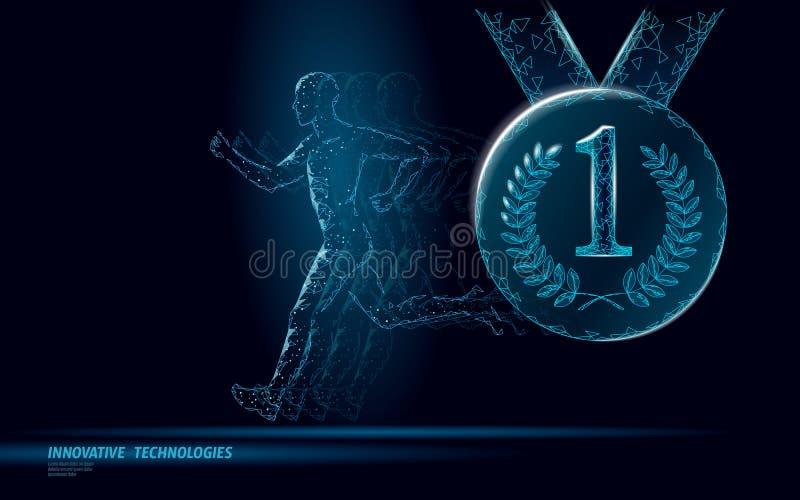 Begrepp för kondition för vinnare för idrottsmankörningskonkurrens Maraton för passform för strid för låg poly mankontur jogga f? vektor illustrationer