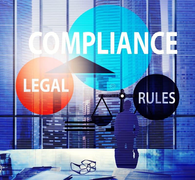 Begrepp för konformism för överensstämmelse för laglig regel för överensstämmelse arkivbild