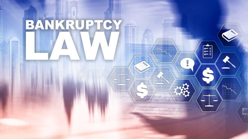 Begrepp för konkurslag Obeståndlag Advokataffärsidé för juridiskt beslut Finansiell bakgrund för blandat massmedia royaltyfria foton